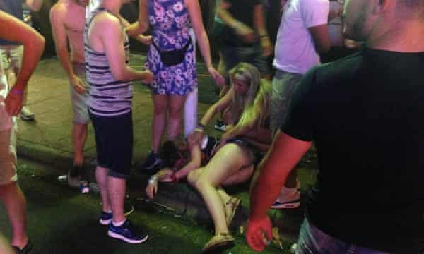 One of the many casualties during a night out on Magaluf's Punta Ballena strip.