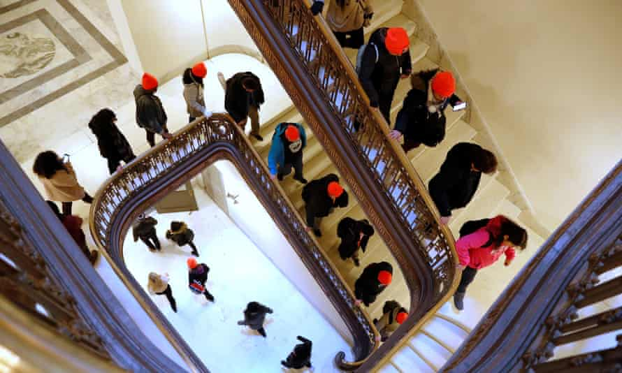 Demonstrators calling for new protections for Dreamers walk through a Senate office building on Capitol Hill in Washington DC Wednesday.