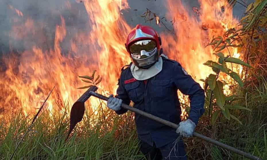 The fight against the fire in Rio Branco, the Amazon, Brazil.