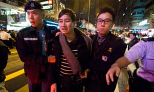 A pro-democracy protester of Hong Kong is arrested
