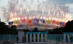 The view of the fireworks from outside Stadio Olimpico.