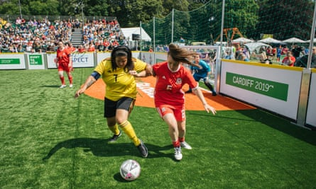 Wales women play Belgium women at the Homeless World Cup