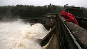 Water cascades over the Pitlochry Dam during a controlled release