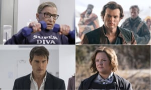 Ruth Bader Ginsburg in RBG, Alden Ehrenreich in Solo, Melissa McCarthy in The Happytime Murders and Tom Cruise in Mission: Impossible - Fallout.
