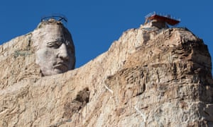 The emerging head of the Crazy Horse Memorial.