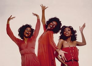 """Scherrie, Susaye and I are coordinated in red for this lighthearted photo shoot from 1976"" – Mary Wilson"