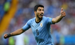 Goal-scorer Luis Suarez seems pleased with the result.