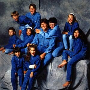 Kardashian Jenner family portrait all dressed in blue