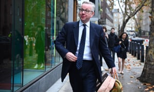 Michael Gove arriving at his office in Westminste