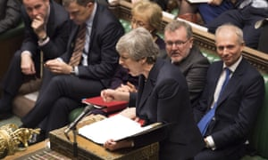 Theresa May speaks in the Commons.
