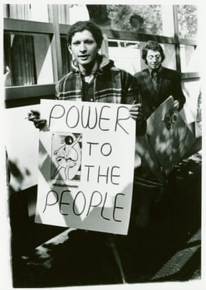 Activist Sylvia Rivera, front, and Village Voice columnist Arthur Bell march at a Gay Student Liberation demonstration at New York University.
