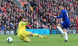 Chelsea's Eden Hazard beats the Liverpool goalkeeper Alisson from close range but his effort hit the post.