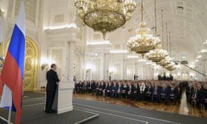 Vladimir Putin addresses the Russian federal assembly, at the Kremlin