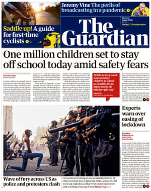 Guardian front page, Monday 1 June 2020