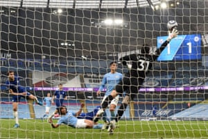 Chelsea's Marcos Alonso shot flies past Manchester City's goalkeeper Ederson to score their late winner.
