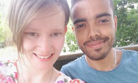 Becky Darmon, 22, with her fiance Abderrahman Belafi, 26.
