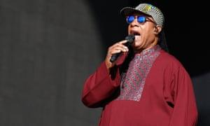 Stevie Wonder performing at Hyde Park, London, 10 July 2016.
