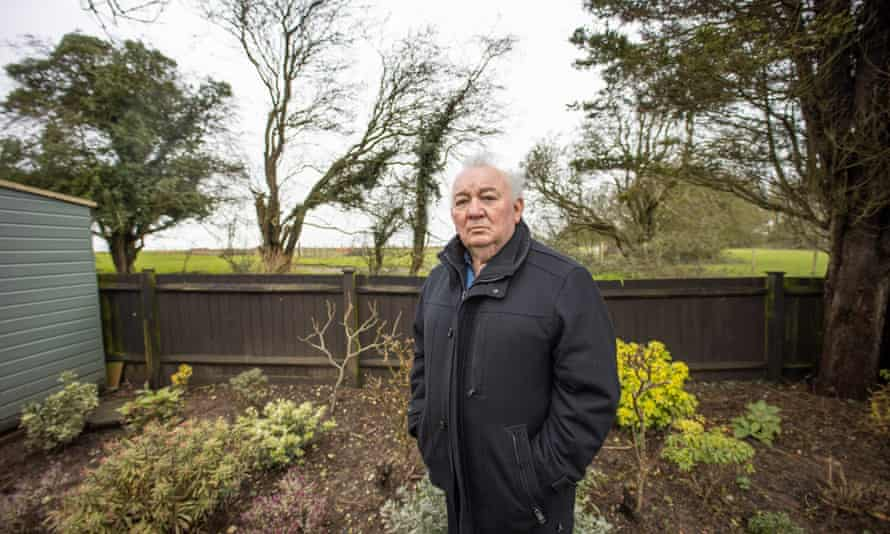 Kieron Jaynes, 70, at the end of his garden, where lorries will exit the inland border facility under government plans