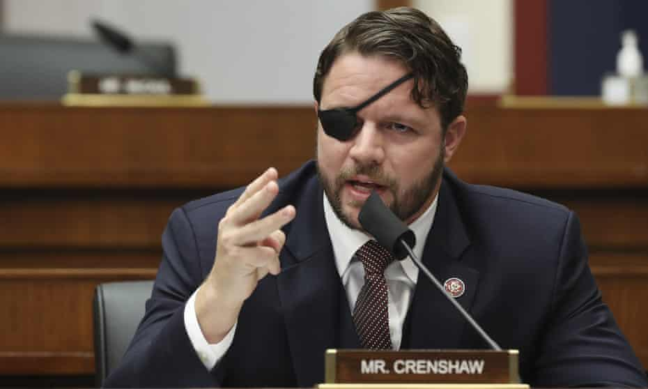 Dan Crenshaw questions witnesses on Capitol Hill in Washington.
