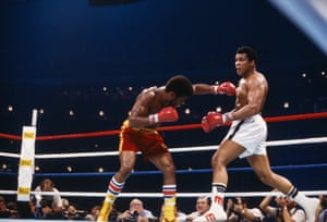 Muhammad Ali backs away from a punch thrown by Leon Spinks during their rematch fight in New Orleans.