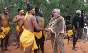 Indigenous affairs minister Ken Wyatt greets Dr Galarrwuy Yunupingu's grandson Michael at the opening ceremony of the Garma festival in north-east Arnhem Land, Northern Territory