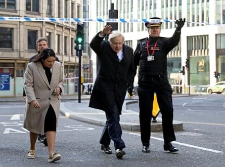 Home secretary Priti Patel, prime minister Boris Johnson and City of London commissioner Ian Dyson at London Bridge the day after the attack.
