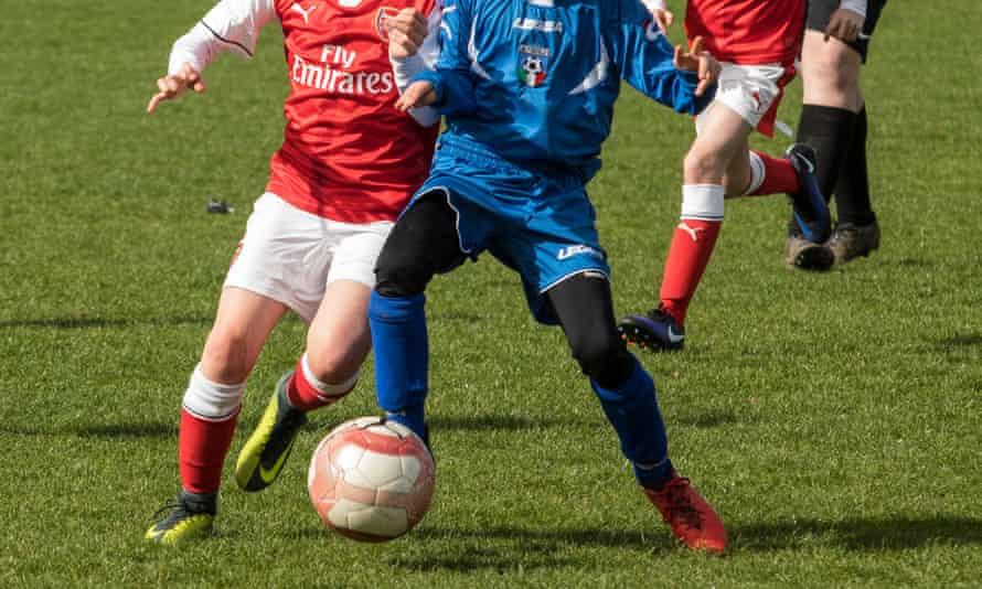 A children's football match.
