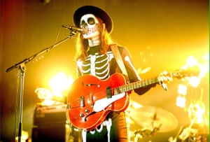 James Bay performs in costume at the Vevo Halloween party at Victoria Warehouse in Manchester, England.