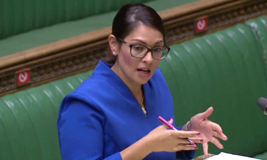 Priti Patel making her statement in parliament on Wednesday.
