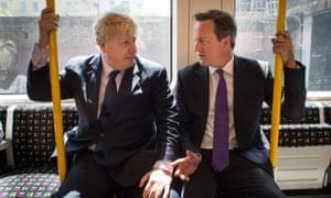 Boris Johnson and David Cameron on a train in 2014