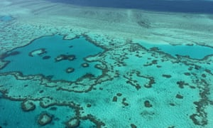 An aerial view of the Great Barrier Reef off the coast of the Whitsunday Islands.