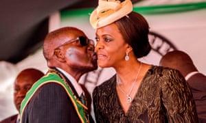 Robert Mugabe kisses his wife Grace in April 2017.