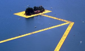 The Floating Piers by Christo on Lake Iseo, Italy, 2016.