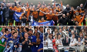 Wolves, Fulham and Cardiff City celebrate promotion.