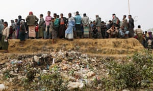 Rohingya refugees line up for food and water at Balukhali camp, near Cox's Bazar, Bangladesh.