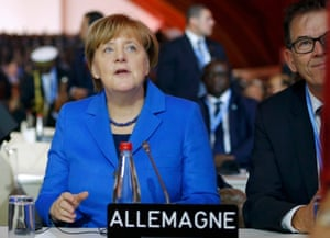 <br>German chancellor Angela Merkel attends the opening session of UN climate talks in Paris
