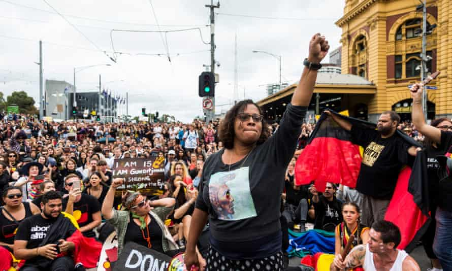 Shareena Clanton during a protest organised by Aboriginal rights activists on Australia Day in Melbourne, on 26 January 26, 2017.