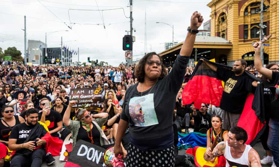 A protest by Indigenous rights activists in the city's centre.