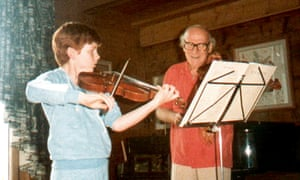 'One has to play every day' … Daniel Hope with his mum's boss, Yehudi Menuhin, in 1983.