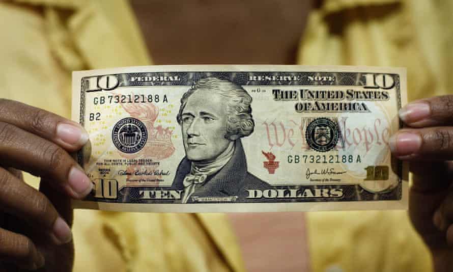A $10 bill, featuring a likeness of Andrew Hamilton, the first US Treasury secretary.