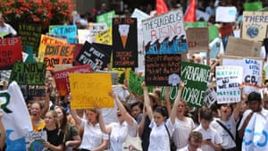 Students rally for action against climate change at Martin Place, Sydney, last year