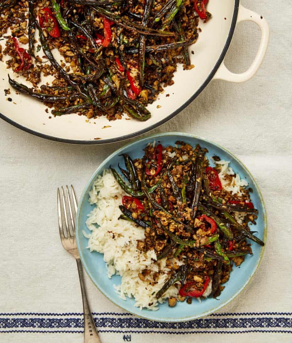 Meera Sodha's blistered beans with shiitake and tofu.