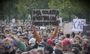 Black Lives Matter demonstrators during protests in Place de la Concorde and Champs de Mars in Paris on 6 June 2020.