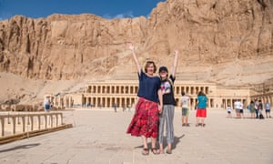 Catherine and Mia at the temple of  Pharaoh Hatshepsut'