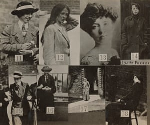 Surveillance photographs of suffragettes issued to National Gallery guards.