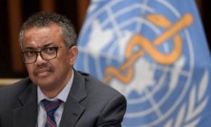 WHO director general Tedros Adhanom Ghebreyesus at a press conference in Geneva.