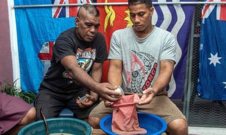 Preparing kava at Mauri Kava Bar in Suva.