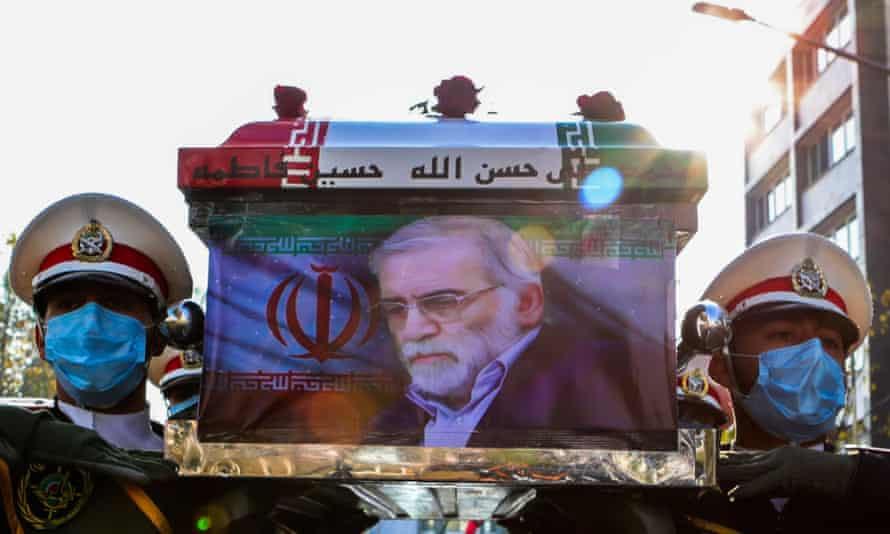 Soldiers carry the coffin of the Iranian nuclear scientist Mohsen Fakhrizadeh during his funeral in Tehran.