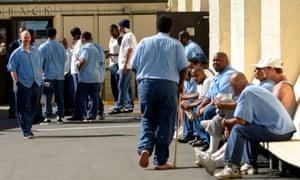 Inmates are seen inside the yard of San Quentin State Prison.