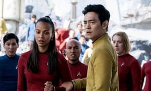 John Cho as Sulu, with Zoe Saldana as Uhura, in Star Trek Beyond